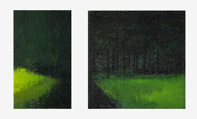 <p>[場所の名つけ] 2015年 キャンバスに油彩 × (mm)二点組</p>